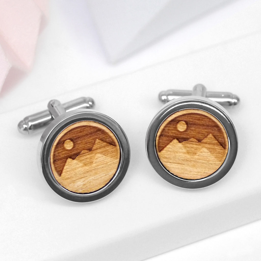 Wooden 3D Mountain Cufflinks