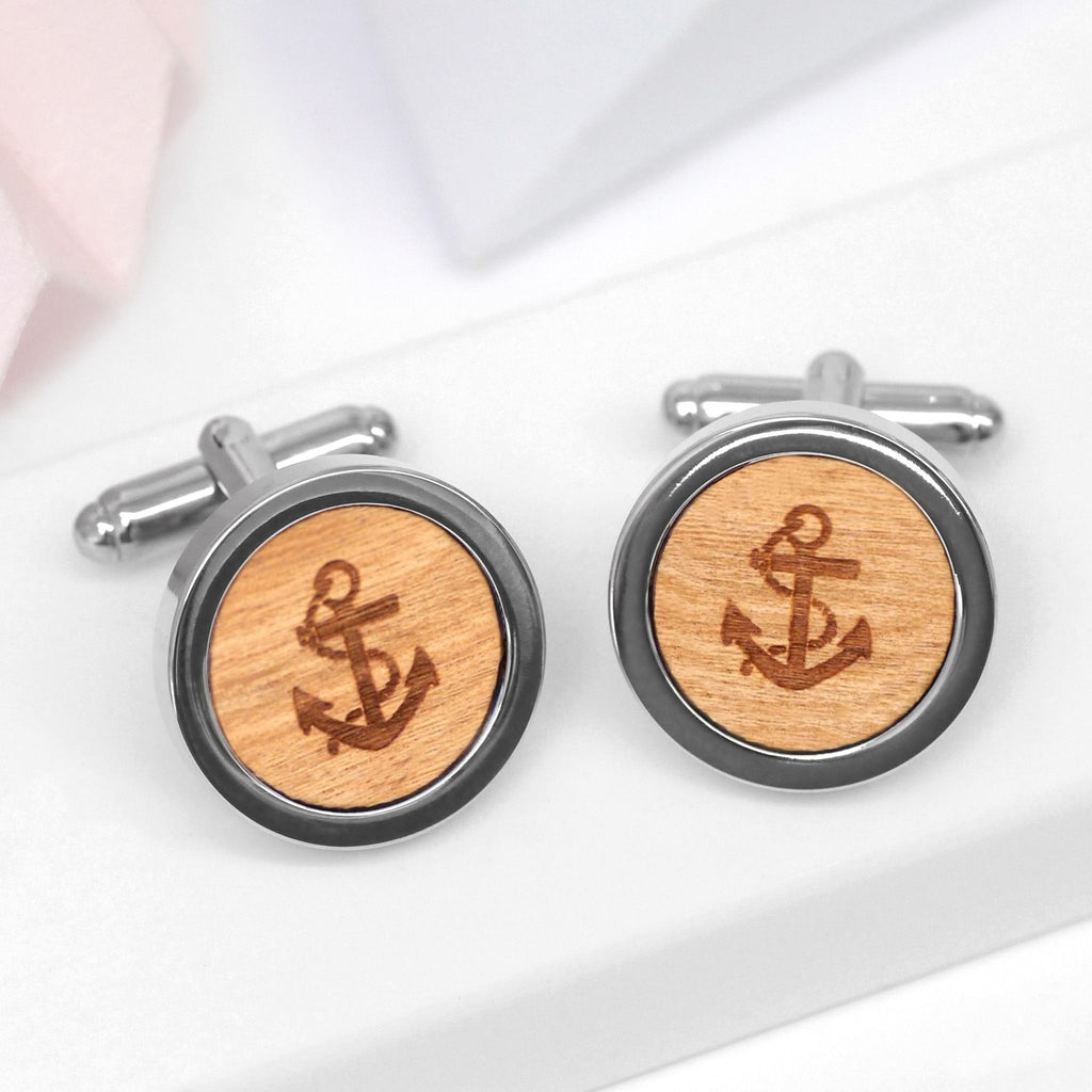 Wooden Anchor Cufflinks - Seconds