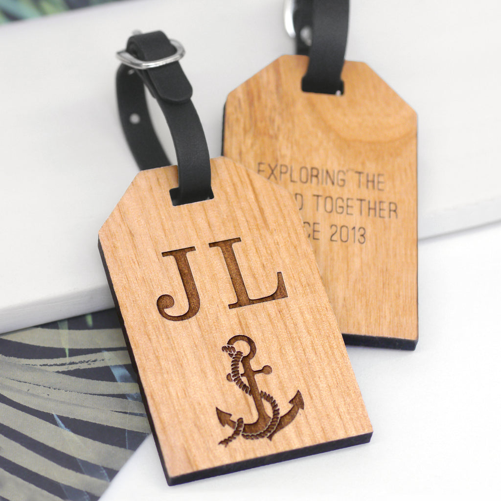 Personalised Wooden Anchor Luggage Tag