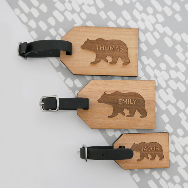 Personalised Bear Family Luggage Tag Set