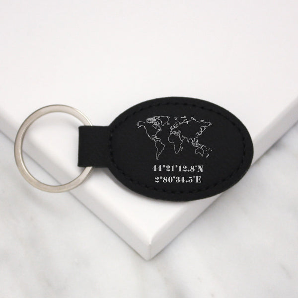 World Map and Coordinate Faux Leather Keyring