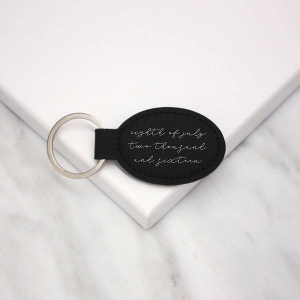 Written Date Faux Leather Keyring