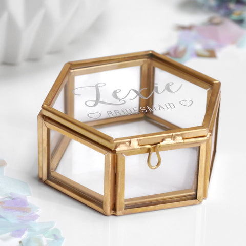 Personalised Mini Glass Bridesmaid Jewellery Box - Seconds