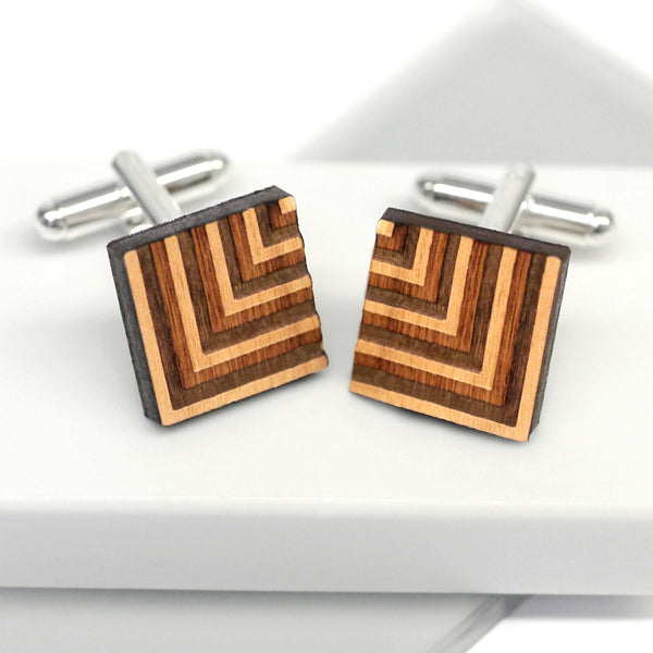 Personalised Wooden Square Chevron Cufflinks