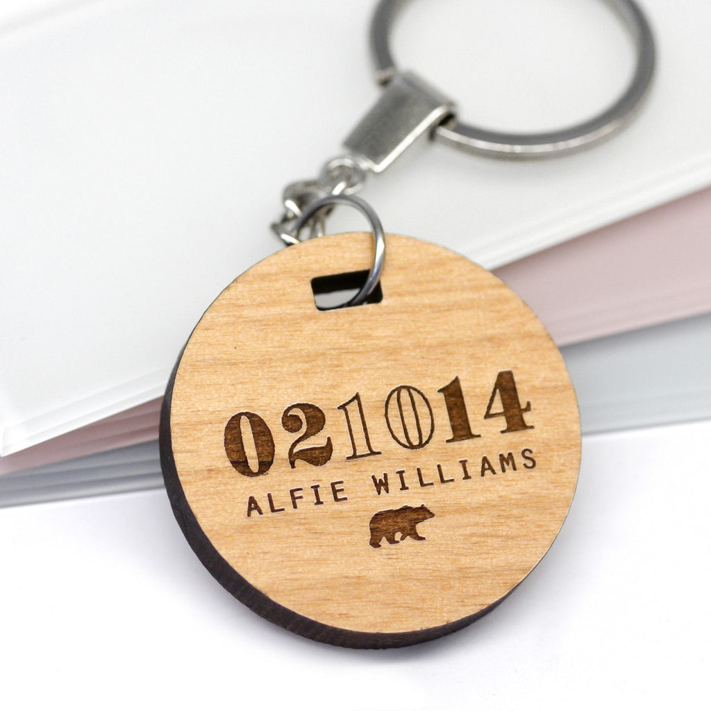 Personalised Baby Date Of Birth Keyring