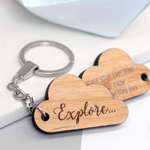 Wooden Personalised Cloud Keyring