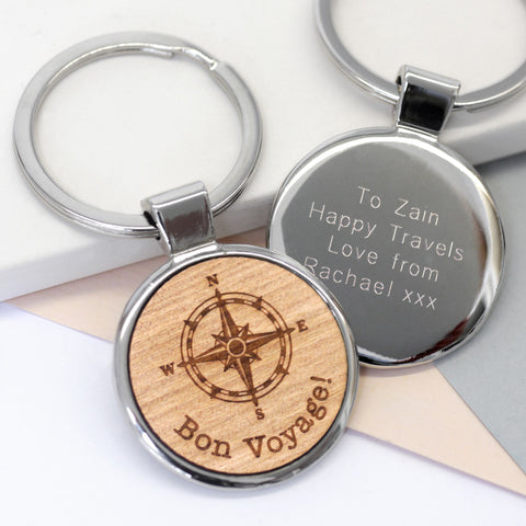 Personalised Compass Key Ring