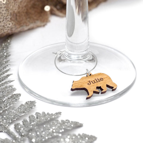 Personalised Polar Bear Wine Glass Charm