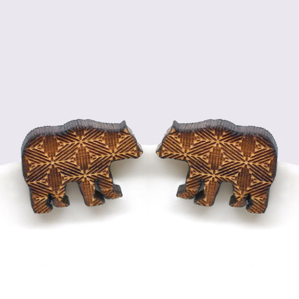 wooden geometric bear stud earrings
