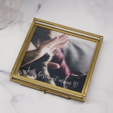 Best Cat Mum Glass Square Photo Tray
