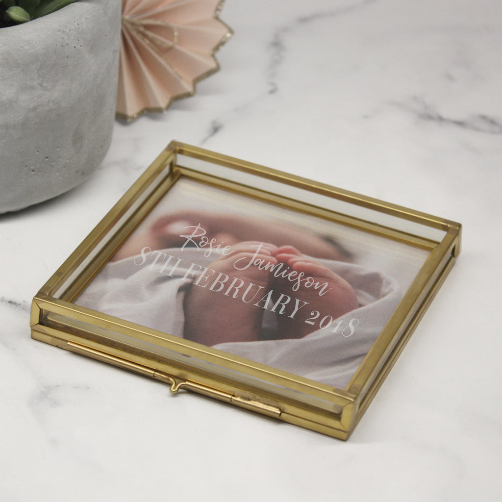 New Baby Glass Square Photo Tray
