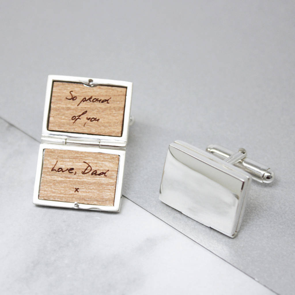Personalised Sterling Silver Handwritten Cufflinks