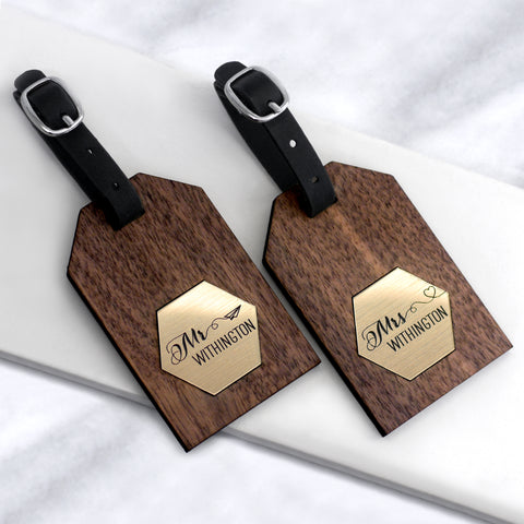 Personalised Gold Hexagon Honeymoon Luggage Tags