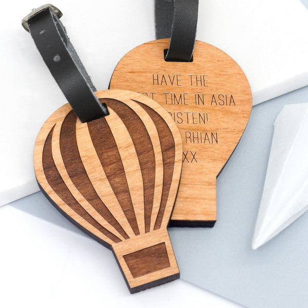 Wooden hot air balloon luggage tag