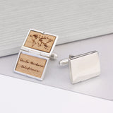 Personalised Sterling Silver World Map Locket Cufflinks