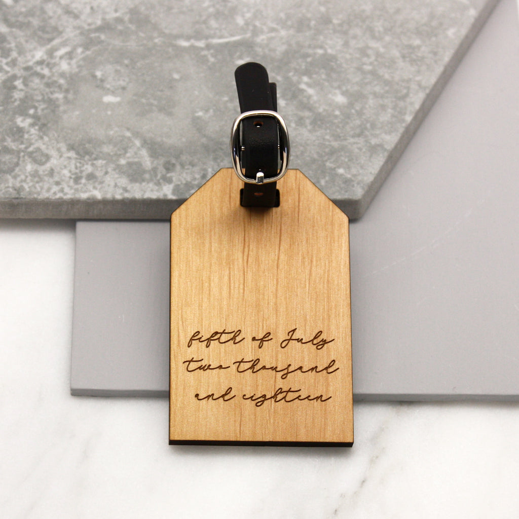 Personalised Written Date Luggage Tag