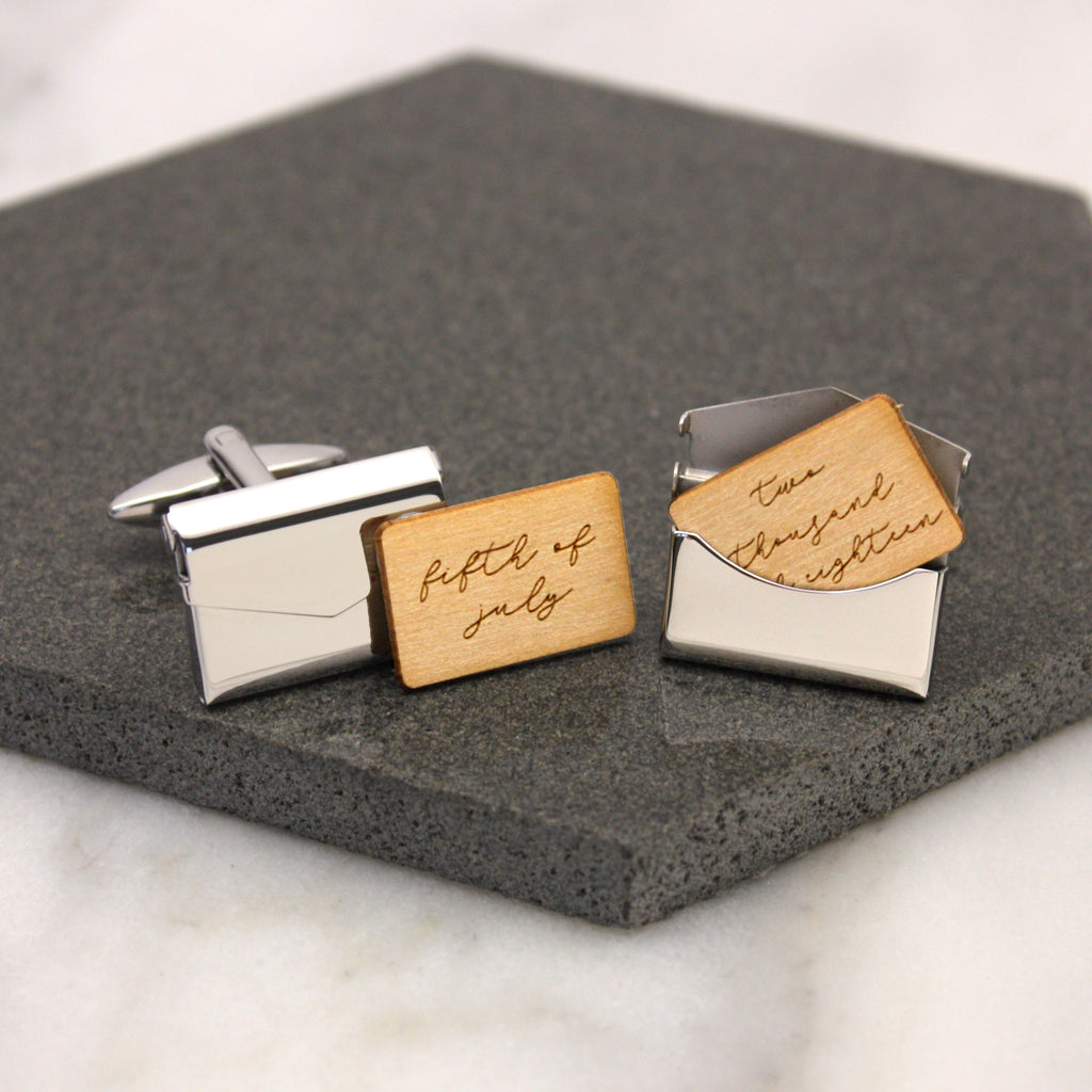 Personalised Written Date Envelope Cufflinks