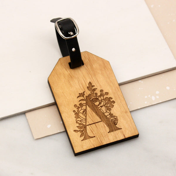 Personalised Botanical Initial Luggage tag