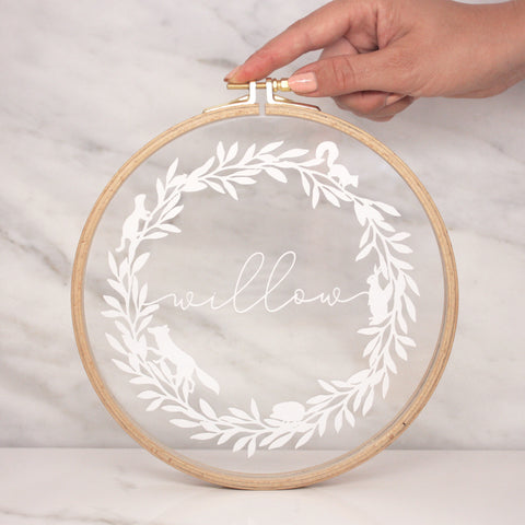 Woodland Wreath And Name Embroidery Hoop