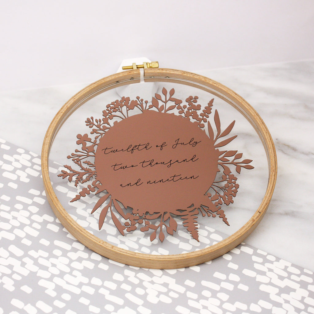 Written Date Embroidery Hoop