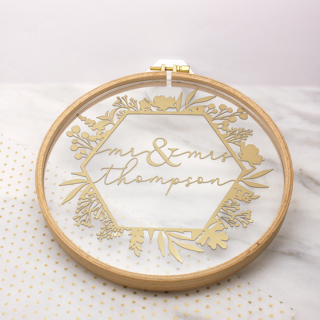 Mr And Mrs Embroidery Hoop