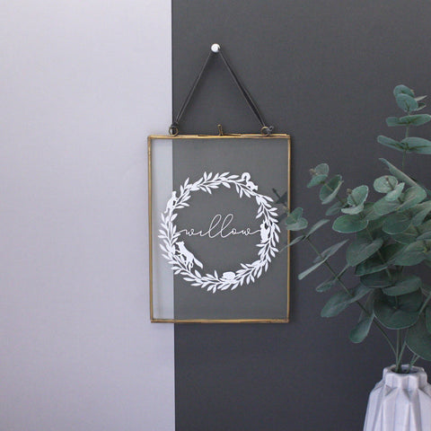 Woodland Wreath And Name Floating Frame