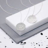 Sterling Engraved Written Date Disc Necklace