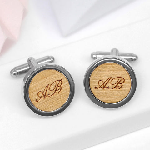 Personalised Wooden Initial Cufflinks