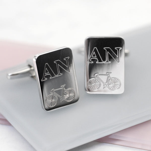 Personalised Initials and Bicycle Cufflinks