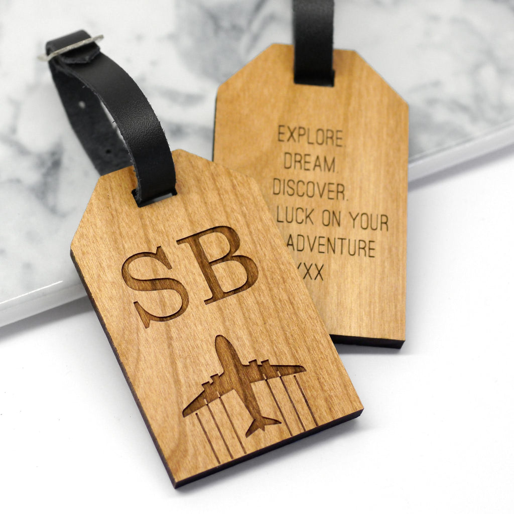 Personalised Wooden Initial Luggage Tag