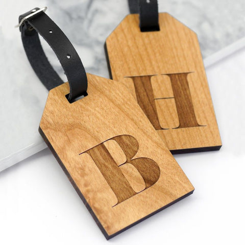 Set Of Two Personalised Wooden Letter Luggage Tags
