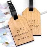 Set Of Two Personalised Wooden Just Married Luggage Tags