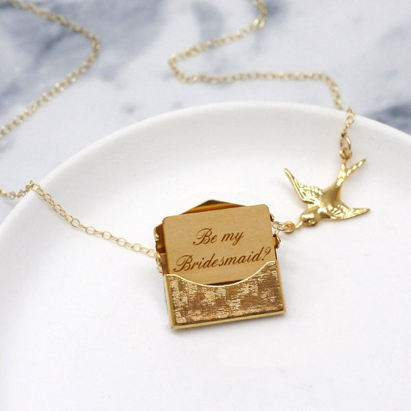 Be my Bridesmaid gold necklace