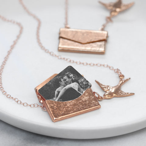 Personalised Photo Envelope Necklace With Bird
