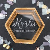 Personalised Mini Glass Maid Of Honour Jewellery Box - Seconds