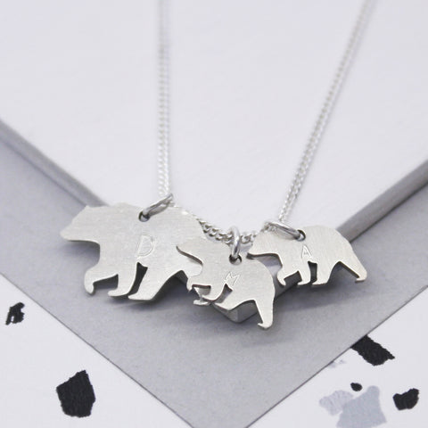Personalised Sterling Mama And Baby Bear Necklace