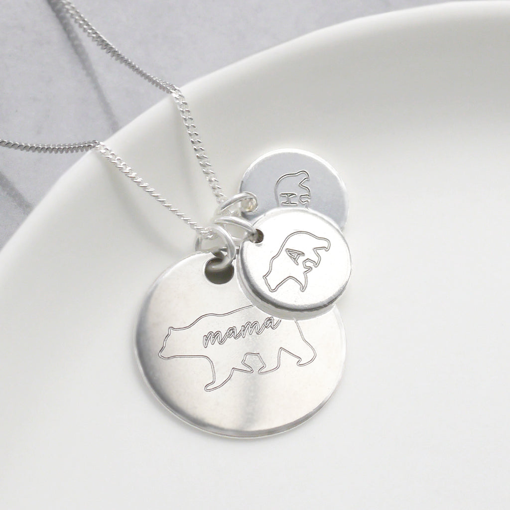 Personalised Mama Bear Disc Necklace