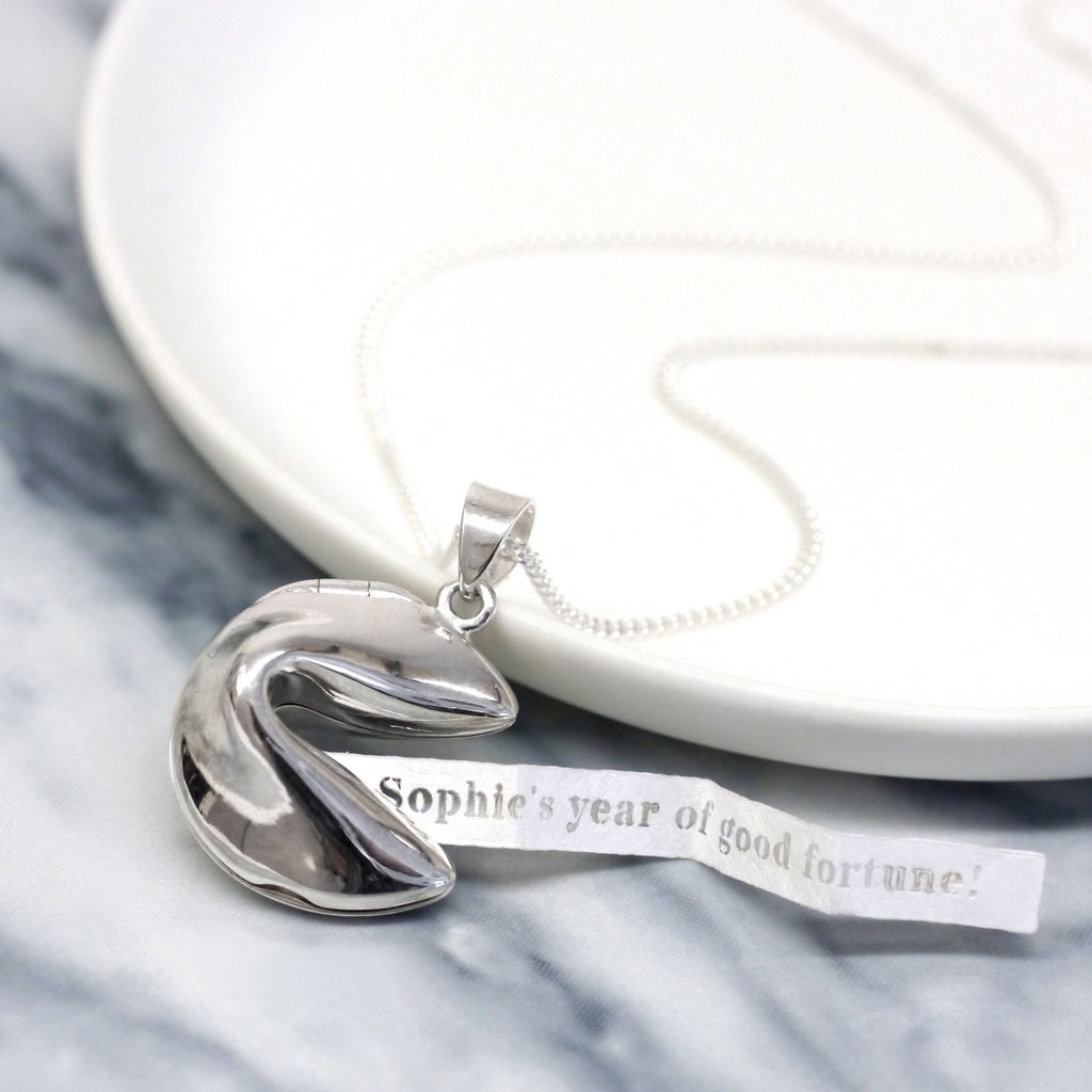 Sterling silver fortune cookie necklace