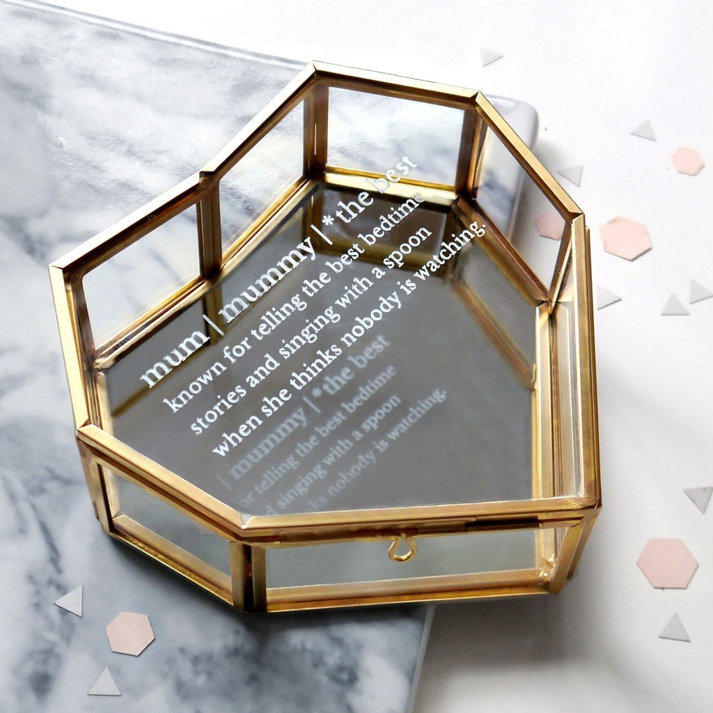 Glass heart shaped jewellery box with mum definition