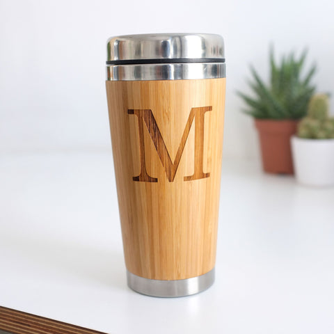 Personalised Wooden Initial Travel Mug - SECONDS
