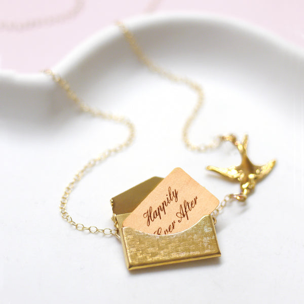 Personalised Envelope Necklace With Bird
