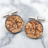 Wooden personalised globe cufflinks