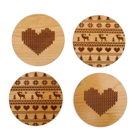 Set of 4 Wooden Cross Stitch Coasters