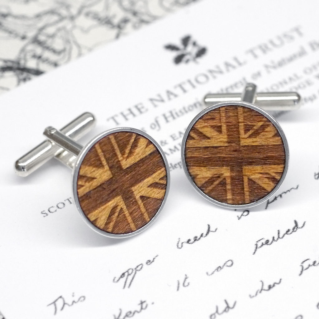 Wooden Union Jack Cufflinks
