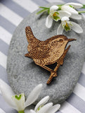 Wooden Wren Brooch