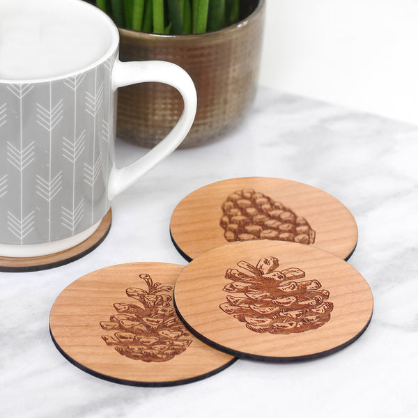 Set of 4 Wooden Pinecone Coasters