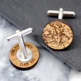 Globe cufflinks in wood