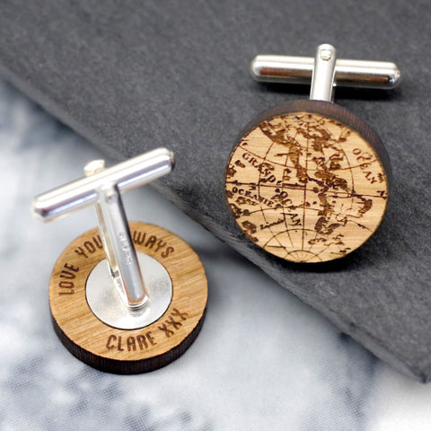 Personalised Globe Secret Message Cufflinks