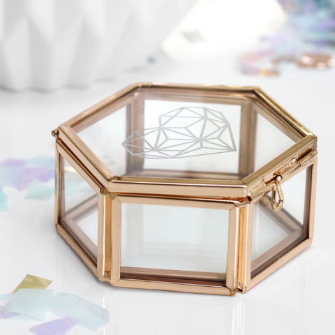 Personalised Mini Glass Hexagon Box With Heart - Seconds