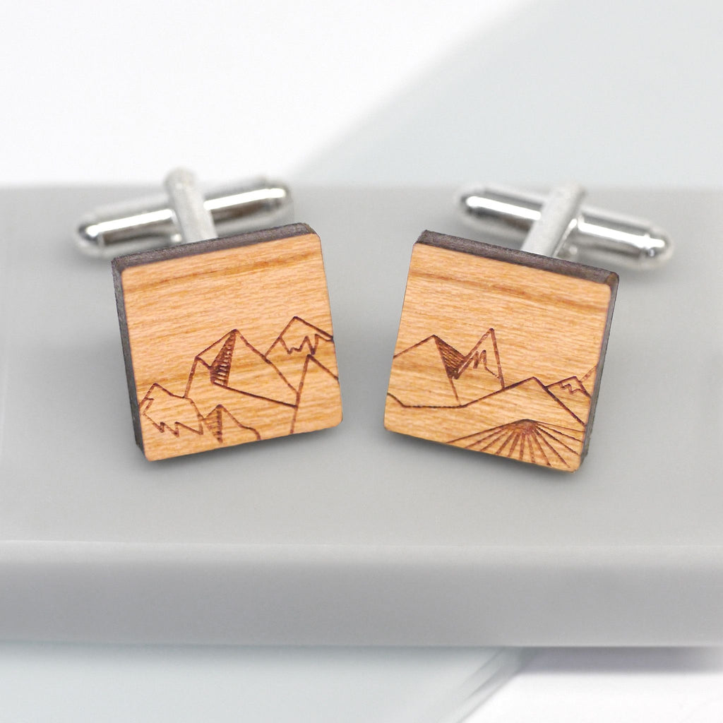 Personalised Wooden Square Mountain Cufflinks